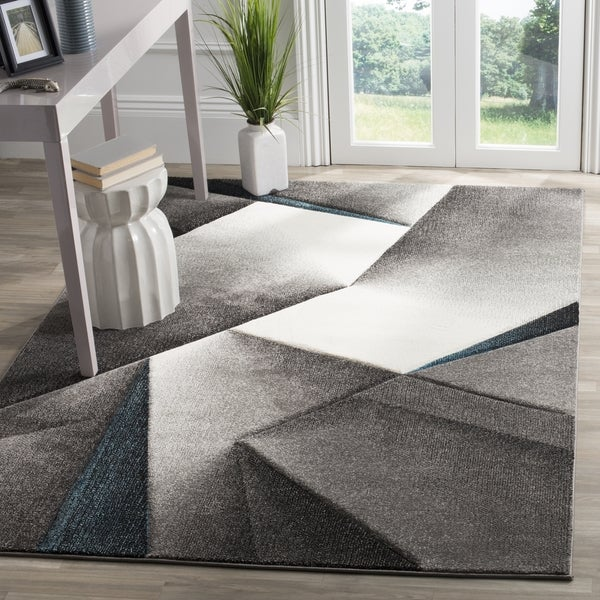"Safavieh Hollywood Grey/ Teal Area Rug - 6'7"" x 6'7"" square"