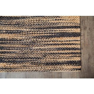 Jani Xana Black and Tan Jute Rug (5'x8')