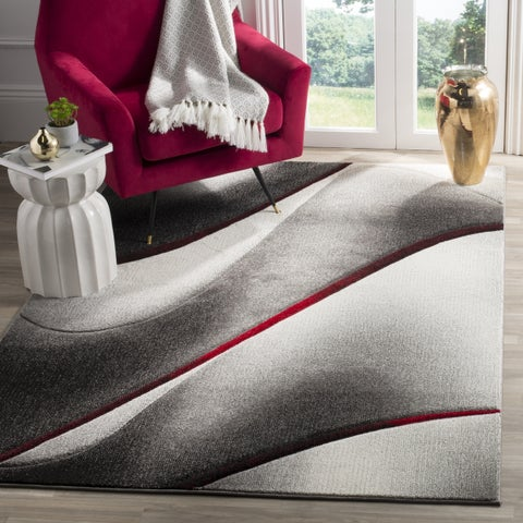 """Safavieh Hollywood Mid-Century Modern Abstract Grey / Red Rug - 6'7"""" x 6'7"""" Square"""