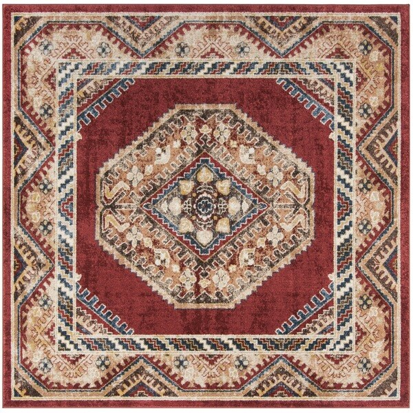 Safavieh Bijar Traditional Oriental Red Distressed Area Rug (6' Square)