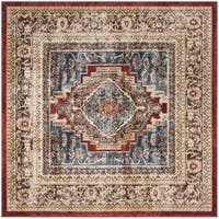 Safavieh Bijar Traditional Oriental Royal Blue/ Brown Distressed Area Rug - 6' Square