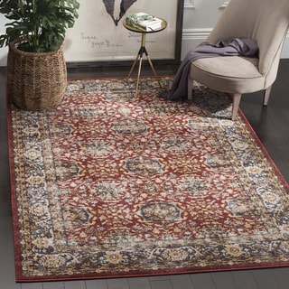 Safavieh Bijar Traditional Oriental Red/ Blue Distressed Area Rug (6' Square)