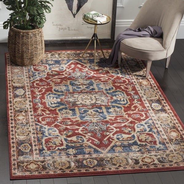 Safavieh Bijar Traditional Oriental Red/ Royal Blue Distressed Area Rug - 6' Square