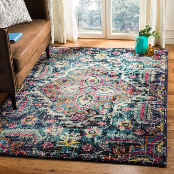 Safavieh Monaco Bohemian Medallion Blue/ Pink Distressed Area Rug - 4' x 5'7""