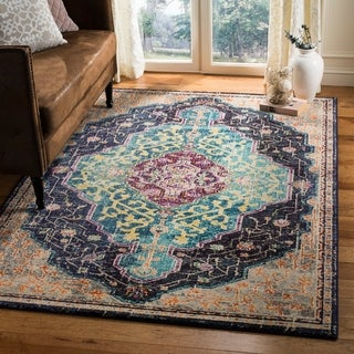 Safavieh Monaco Bohemian Medallion Black/ Blue Distressed Area Rug (4' x 5' 7)