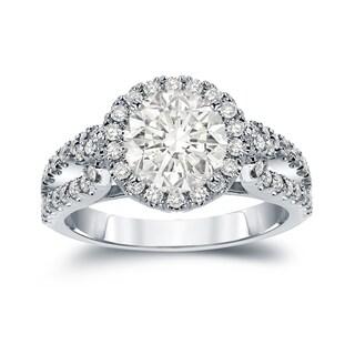 Auriya 14k Gold 2 1/3ct TDW Certified Round Cut Diamond Halo Engagement Ring (J-K, I1-I2)