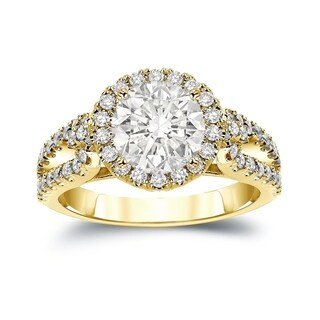 Auriya 14k Gold 2 1/3ct TDW Certified Round Cut Diamond Halo Engagement Ring (J-K, I1-I2)