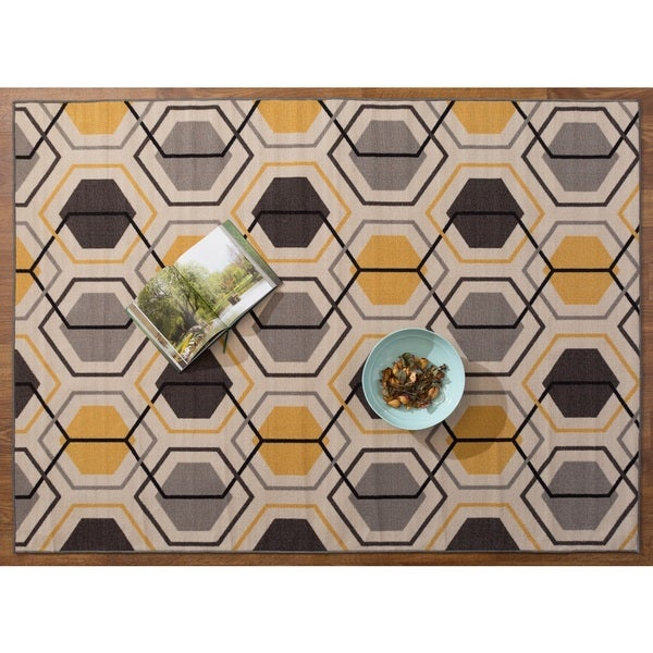 Yellow Black Grey Nylon Geometric Stripe Nonskid Area Rug