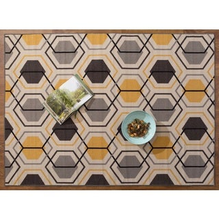 Yellow/Black/Grey Nylon Geometric Stripe Nonskid Area Rug (5'3 x 7'3)