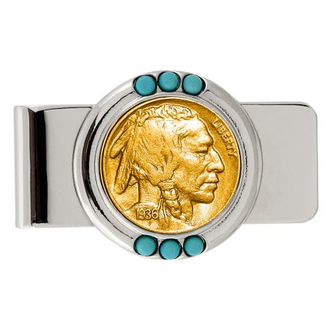 Smithsonian Institution Gold-Layered Buffalo Nickel Turquoise Money Clip