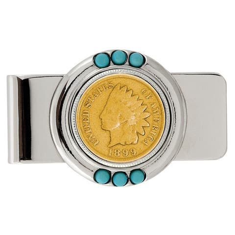 Smithsonian Institution Gold-Layered 1800's Indian Penny Turquoise Money Clip