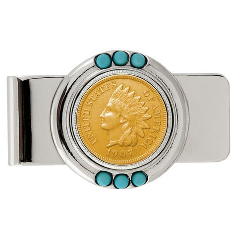 Smithsonian Institution Gold-Layered Indian Penny Turquoise Money Clip