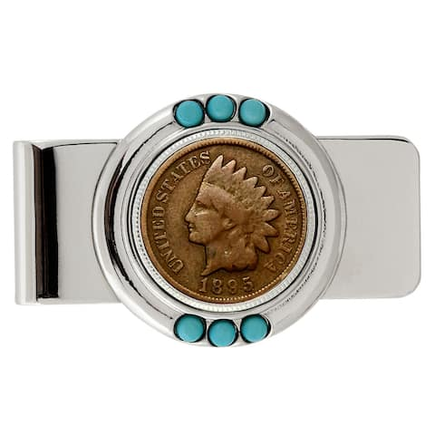 Smithsonian Institution 1800's Indian Penny Turquoise Money Clip