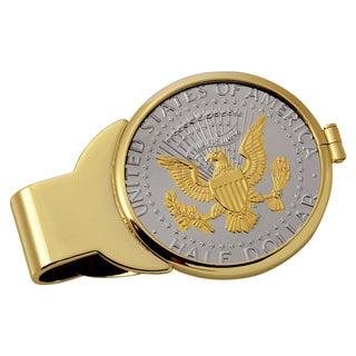 Smithsonian Institution Selectively Gold-Layered Presidential Seal Half Dollar Goldtone Money Clip