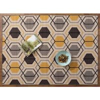 "Yellow Nylon Geometric Stripe Nonskid Area Rug (7'10x10') - 7'10"" x 10'"