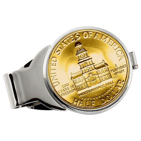 Smithsonian Institution Gold-Layered JFK Bicentennial Half Dollar Silvertone Money Clip