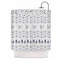 KESS InHouse Famenxt Tribal Arrows Jungle Stars Grey Pattern Shower Curtain (69x70)
