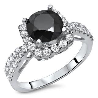 Certified Noori 18k White Gold 2 1/6 ct TDW Black Round Diamond Engagement Ring