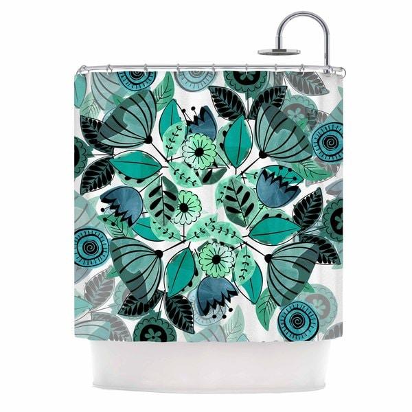 KESS InHouse Famenxt Mint Sognare Green Abstract Shower Curtain (69x70)