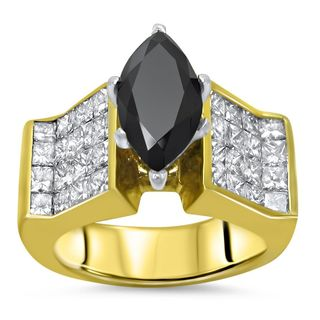 Certified Noori 14k Yellow Gold 4 1/4 ct TDW Black Marquise Diamond Engagement Ring