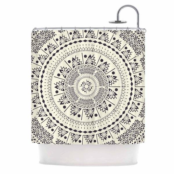 KESS InHouse Famenxt Swadesi Soft Boho Mandala Beige Illustration Shower Curtain (69x70)