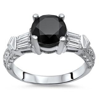 Certified Noori 14k White Gold 1 3/4 ct TDW Black Round Diamond Engagement Ring