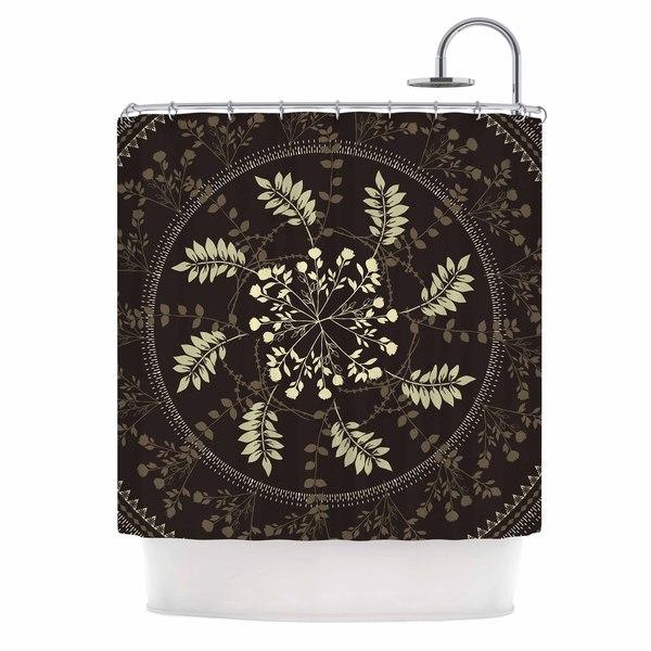 KESS InHouse Famenxt Reborn Mandala Beige Bandana Shower Curtain (69x70)