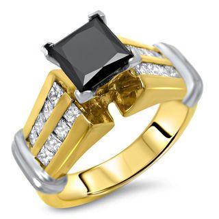 Certified Noori 14k Yellow Gold 2 1/3 ct TDW Black Princess Cut Diamond Engagement Ring