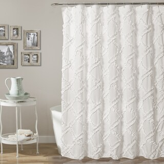 Lush Decor Ruffle Diamond Shower Curtain