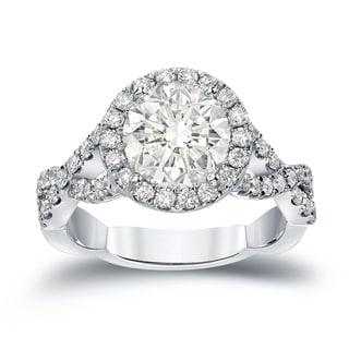 Auriya 14k Gold 2 3/4ct TDW Certified Round Cut Diamond Halo Engagement Ring (J-K, I1-I2)