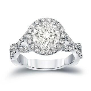 Auriya 14k Gold 2 3/4ct TDW Certified Round Cut Diamond Halo Engagement Ring (J-K, I1-I2)