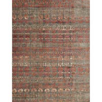 Transitional Bohemian Grey/ Orange Rug - 9'6 x 12'6