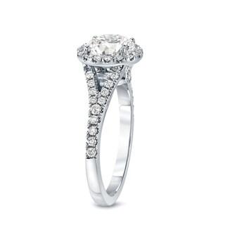 Auriya 14k Gold 2ct TDW Certified Round Cut Diamond Halo Engagement Ring (J-K, I1-I2)