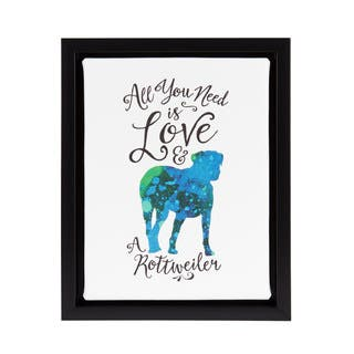 DesignOvation Sylvie All You Need is Love and a Rottweiler Watercolor Print Dog Art Framed Canvas