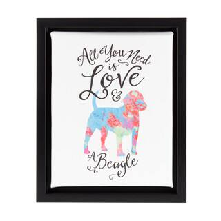 DesignOvation Sylvie All You Need is Love and a Beagle Watercolor Print Dog Art Framed Canvas