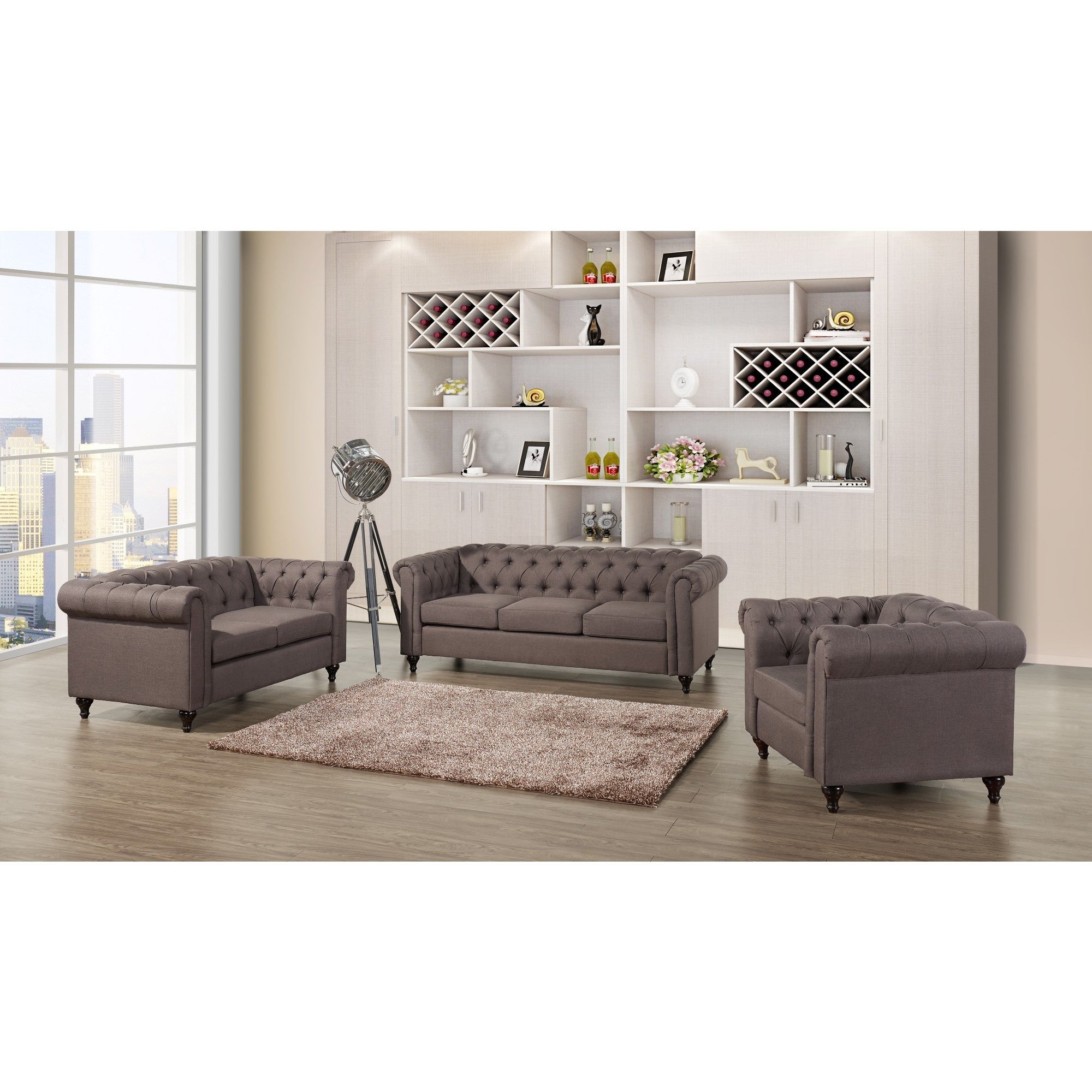 Thomas Chesterfield Linen Fabric Tufted Sofa Loveseat and Chair