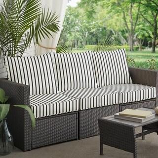 Mabley Sunbrella Lido Indigo Indoor/ Outdoor Corded Pillow and Cushion 6-pc Sofa Set