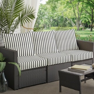 Mabley Sunbrella Lido Indigo Indoor/ Outdoor Corded Pillow And Cushion 6 Pc  Sofa Set