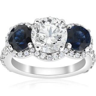 14k White Gold 3 3/8 ct TW Blue Sapphire & Diamond Clarity Enhanced Three Stone Engagement Ring (H-I, I1-I2)