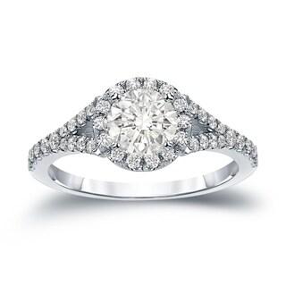 Auriya 14k Gold 1 1/2ct TDW Certified Round Cut Diamond Halo Engagement Ring (J-K, I1-I2)