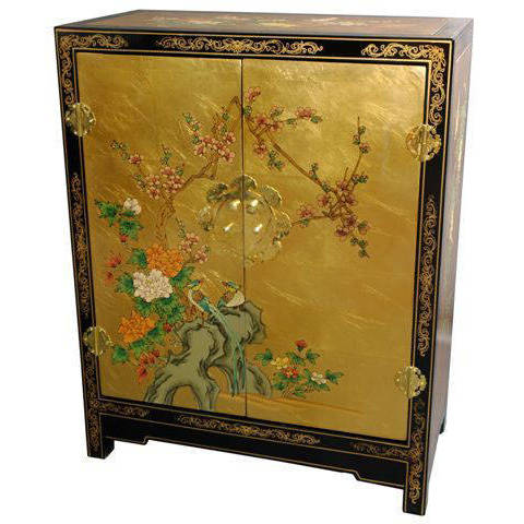 Handmade Gold Leaf Lacquer Cabinet (China), Size No Drawers