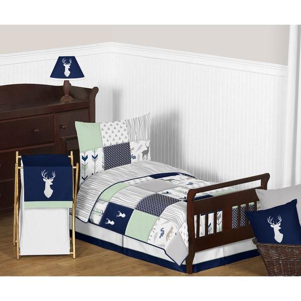 Sweet Jojo Designs Navy and Mint Woodsy Comforter Set