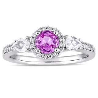 Miadora Signature Collection 14k White Gold Pink and White Sapphire 1/8ct TDW Diamond Halo Engagement Ring