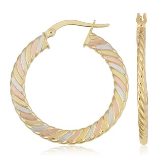Fremada Italian 14k Tricolor Gold Flat Hoop Earrings, 1.2""
