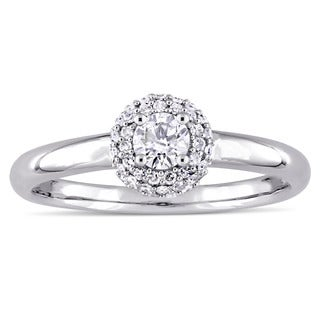 Miadora Signature Collection 14k White Gold 3/8ct TDW Diamond Double Halo Engagement Ring