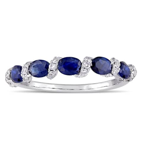 Miadora Signature Collection 14k White Gold Light Blue Sapphire and 1/4ct TDW Diamond Swirl Anniversary Band