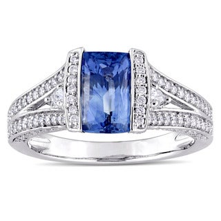 Miadora Signature 14k White Gold Baguette-Cut Sapphire 5/8ct TDW Pear and Round-Cut Diamond Halo Engagement Ring