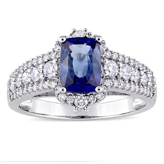 Miadora Signature Collection 14k White Gold Baguette-Cut Sapphire 3/4ct TDW Diamond Halo Engagement Ring