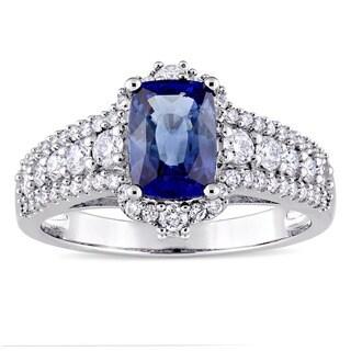 Miadora Signature Collection 14k White Gold Baguette-Cut Sapphire 3/4ct TDW Diamond Halo Engagement