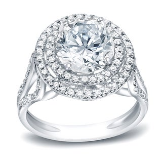 Auriya Platinum 1 3/4ct TDW Certified Round Cut Diamond Halo Engagement Ring (H-I, I1-I2)